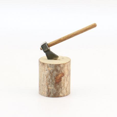 Billot de Bois avec Hache, accessoire miniature