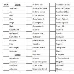 liste santons 2020 Excel