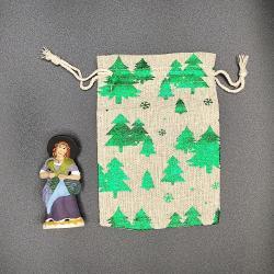 Pochette cadeau 2 santons doré métallisé vert