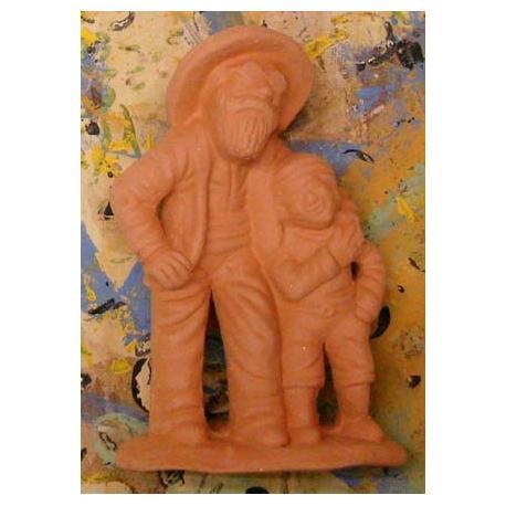 Santon Non Peint Aveugle et l'Enfant
