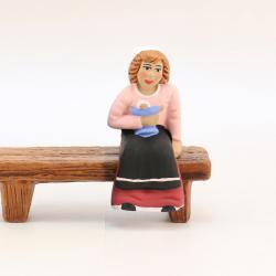 Santon Banc fille assise